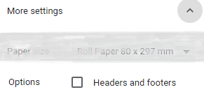 Chrome headers and footers option