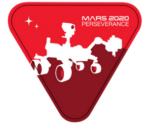 Red and brown Triangle with NASA Mars 2020 Perseverance Rover